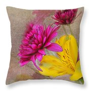 Fresh Flowers Painted Throw Pillow