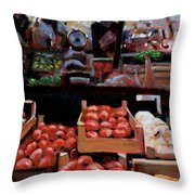 Fresh Fruits And Vegetables Throw Pillow