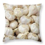 Fresh Garlic Bulbs Throw Pillow