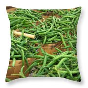 Fresh Green Beans In Baskets Throw Pillow by Teri Virbickis