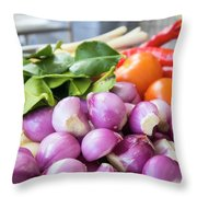 Fresh Ingredients For Cooking Chicken Curry Sauce Closeup Throw Pillow