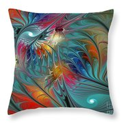 Fresh Mints And Cool Blues-abstract Fractal Art Throw Pillow by Karin Kuhlmann