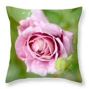 Fresh Morning Rose Throw Pillow