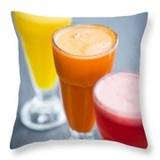 Fresh Orange Carrot And Watermelon Fruit Juice Throw Pillow