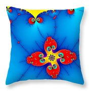 Fresh Orange Red And Blue Abstract Fractal Art Throw Pillow