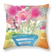 Fresh Picked Flowers In A Blue Vase- Contemporary Watercolor Painting Throw Pillow