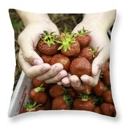 Fresh Picked Strawberries Throw Pillow