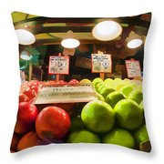 Fresh Pike Place Apples Throw Pillow