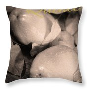 Fresh Quince Distressed Sepia Text Throw Pillow
