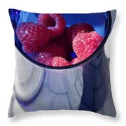 Fresh Raspberries In A Blue Cup Throw Pillow