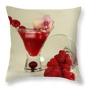 Fresh Raspberry Cosmos Delight Throw Pillow