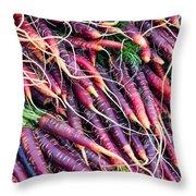Fresh Red Carrots Throw Pillow