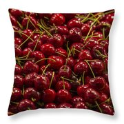 Fresh Red Cherries Throw Pillow