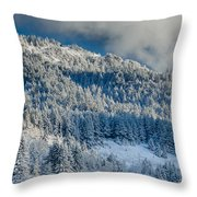 Fresh Snow On The Mountain Throw Pillow