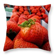 Fresh Strawberries Throw Pillow by Peggy Hughes