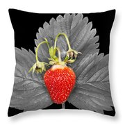 Fresh Strawberry And Leaves Throw Pillow