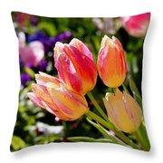 Fresh Tulips Throw Pillow