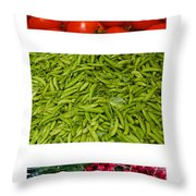 Fresh Vegetable Triptych Throw Pillow