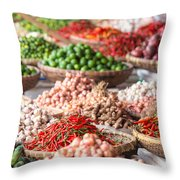 Fresh Vegetables At Local Market Throw Pillow