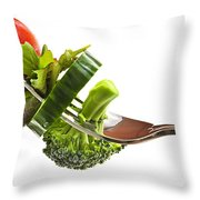 Fresh Vegetables On A Fork Throw Pillow by Elena Elisseeva