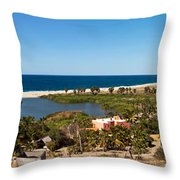 Fresh Water Lagoon At Playa La Poza Throw Pillow