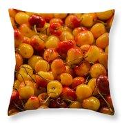 Fresh Yellow Cherries Throw Pillow