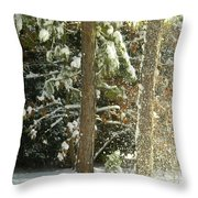 Freshly Blowing Snow Throw Pillow
