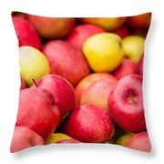 Freshly Harvested Colorful Crimson Crisp Apples On Display At Th Throw Pillow