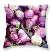 Freshly Harvested Purple Eggplants Throw Pillow
