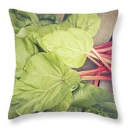 Freshly Picked Rhubarb Throw Pillow