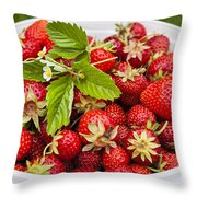 Freshly Picked Strawberries Throw Pillow