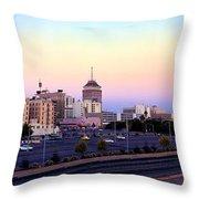 Fresno Skyline Into The Evening Throw Pillow