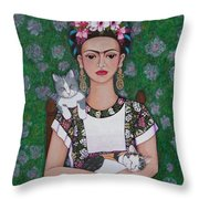 Frida Cat Lover  Throw Pillow
