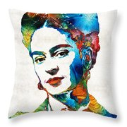 Frida Kahlo Art - Viva La Frida - By Sharon Cummings Throw Pillow