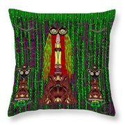 Frida Kahlo Have Arrived With Friends To The Fantasy Forest Throw Pillow