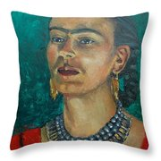 Frida Teal Throw Pillow by Lilibeth Andre