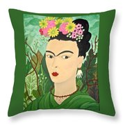 Frida With Flowers Throw Pillow