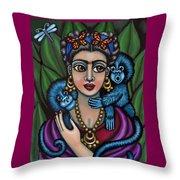 Frida's Monkeys Throw Pillow by Victoria De Almeida