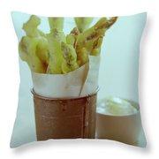 Fried Asparagus Throw Pillow