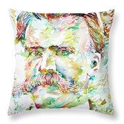 Friedrich Nietzsche Watercolor Portrait Throw Pillow