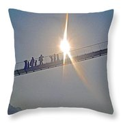 Friendly Nepali In The Sunlight On The Suspension Bridge Over The Seti River In Nepal  Throw Pillow