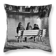 Friends In Black And White Throw Pillow
