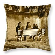 Friends In Sepia Throw Pillow