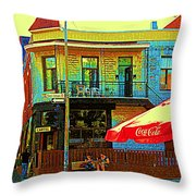 Friends On The Bench At Cartel Street Food Mexican Restaurant Rue Clark Art Of Montreal City Scene Throw Pillow