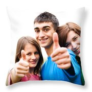 Friends Showing Thumb Up Sign Throw Pillow