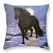 Friesian Horse Blue Moonlight Setting Throw Pillow