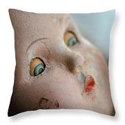 Frightened Vintage Doll Face Throw Pillow