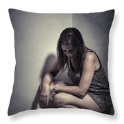 Frightened Woman Throw Pillow