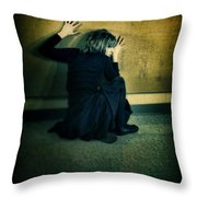 Frightened Woman Throw Pillow by Jill Battaglia