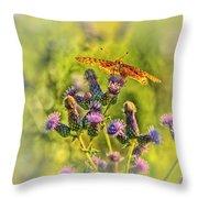 Fritillary On Thistle Throw Pillow